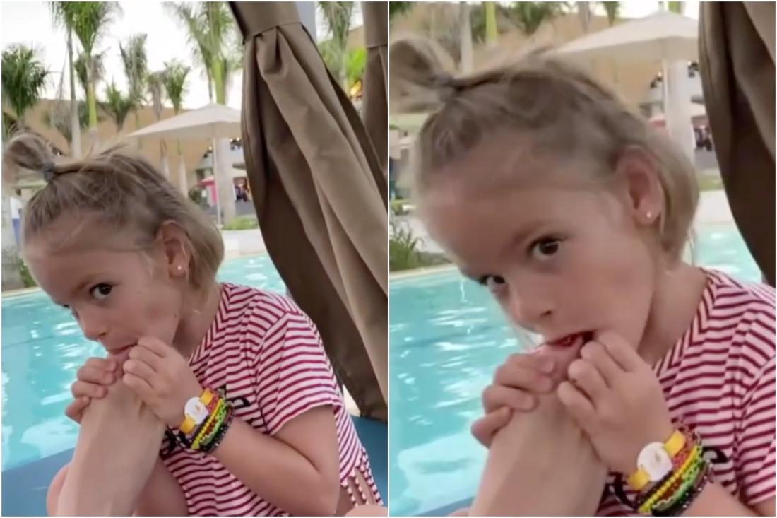 """""""Шалость"""": Симона Юнусова прокомментировала видео, где внучка сосет палец её ноги."""